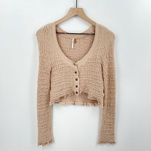 Free People Smocked Knit Button Crop Top Sz Small